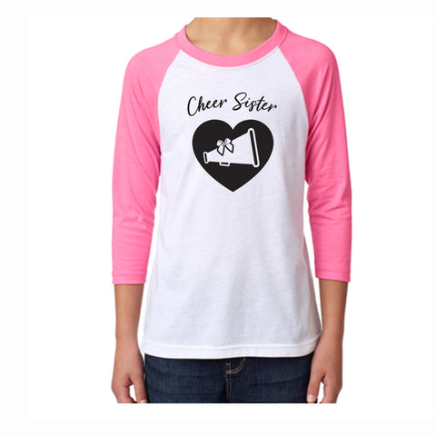 Cheer Sister Youth 3/4 Sleeve Tee