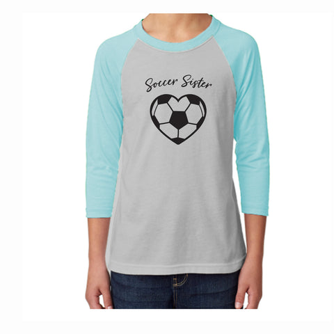 Soccer Sister Youth 3/4 Sleeve Tee