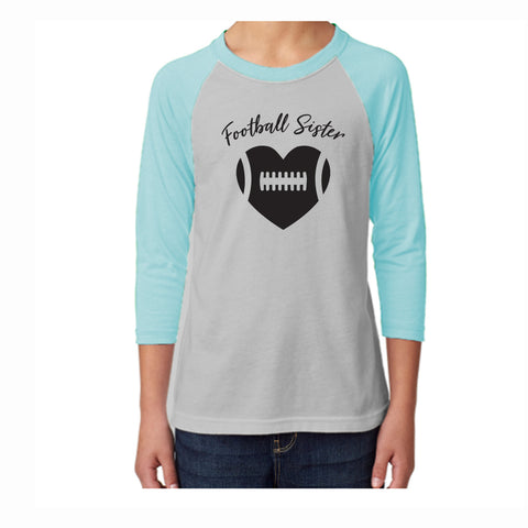 Football Sister Youth 3/4 Sleeve Tee