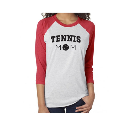 Tennis Mom V1 Tri-Blend 3/4-Sleeve Tee