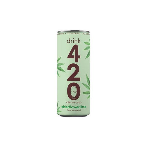 Drink 420 Elderflower Lime CBD Infused Sparkling Drink - 15mg (12 Pack) - cannabidolpharm.com