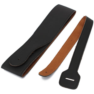 Adjustable Black Leather Guitar Strap