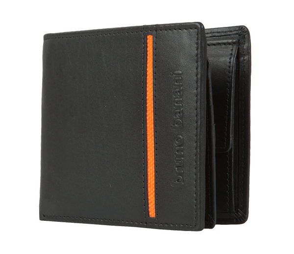 bruno banani − Geldbeutel - Geldbörse - Portemonnaie - Black/Orange