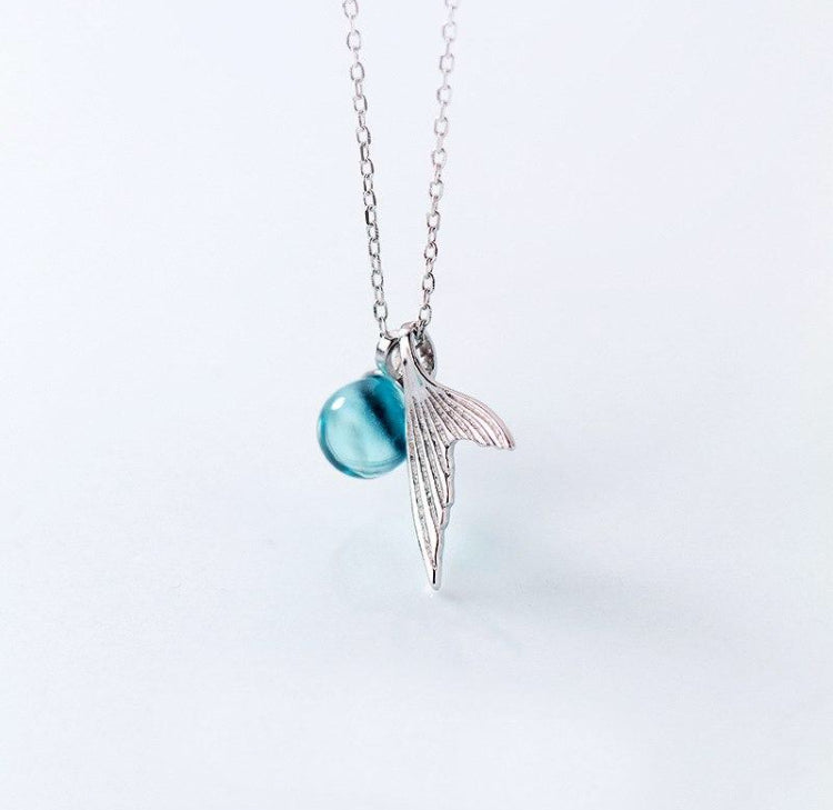 Sterling Silver Mermaid Tail Necklace with Blue Crystal