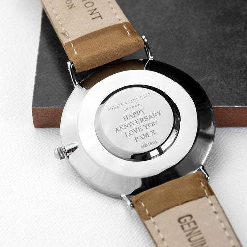 Men's Modern-Vintage Personalised Leather Watch