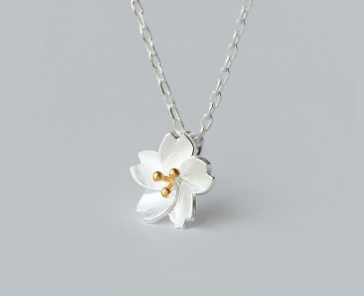 Sterling Silver Golden Cherry Blossom Necklace