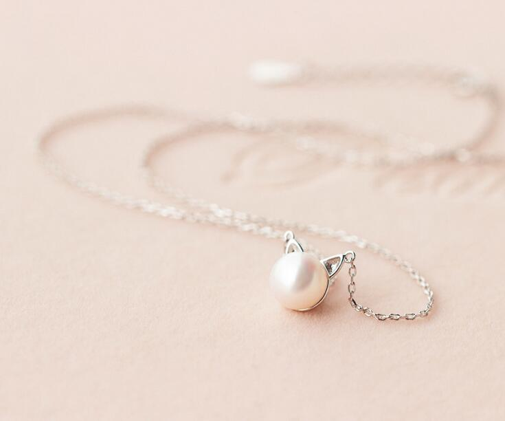 Sterling Silver Freshwater Pearl Cat Necklace