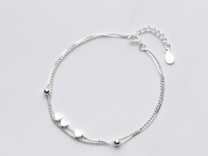 Sterling Silver Multi-Layer Three Hearts Bracelet