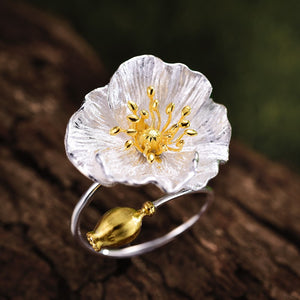 Blooming Poppy Flower Ring Sterling Silver