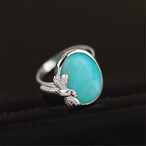 Handmade Amazonite Stone Dragonfly Sterling Silver Ring