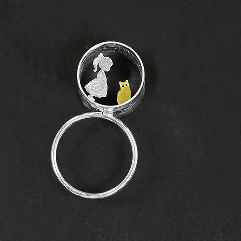 Handmade Sterling Silver Little Girl & Boy with a Cat Statement Ring