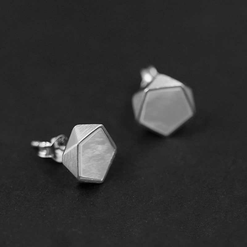 Handmade Sterling Silver Geometric Style Stud Earrings