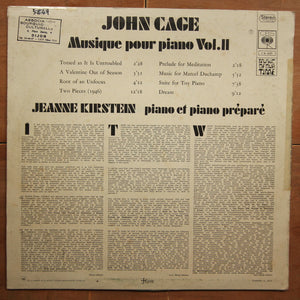 John Cage - Jeanne Kirstein ‎– Musique Pour Piano Vol. II