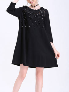 Plus size lace stitching beaded loose stretch dress