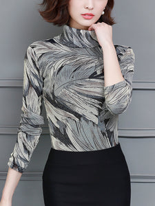 Turtleneck printed mesh long-sleeved padded bottoming shirt