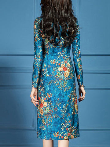 Stand-up collar temperament long sleeve chiffon printed dress