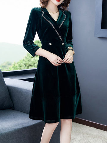 Dress high-end temperament gold velvet skirt