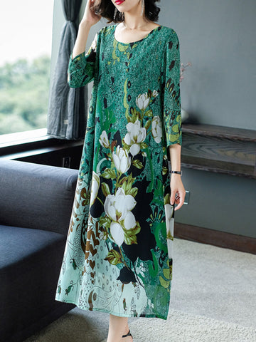 Plus size vintage chiffon noble temperament dress
