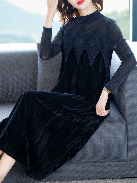 High-end gold velvet stitching lace loose a-line dress