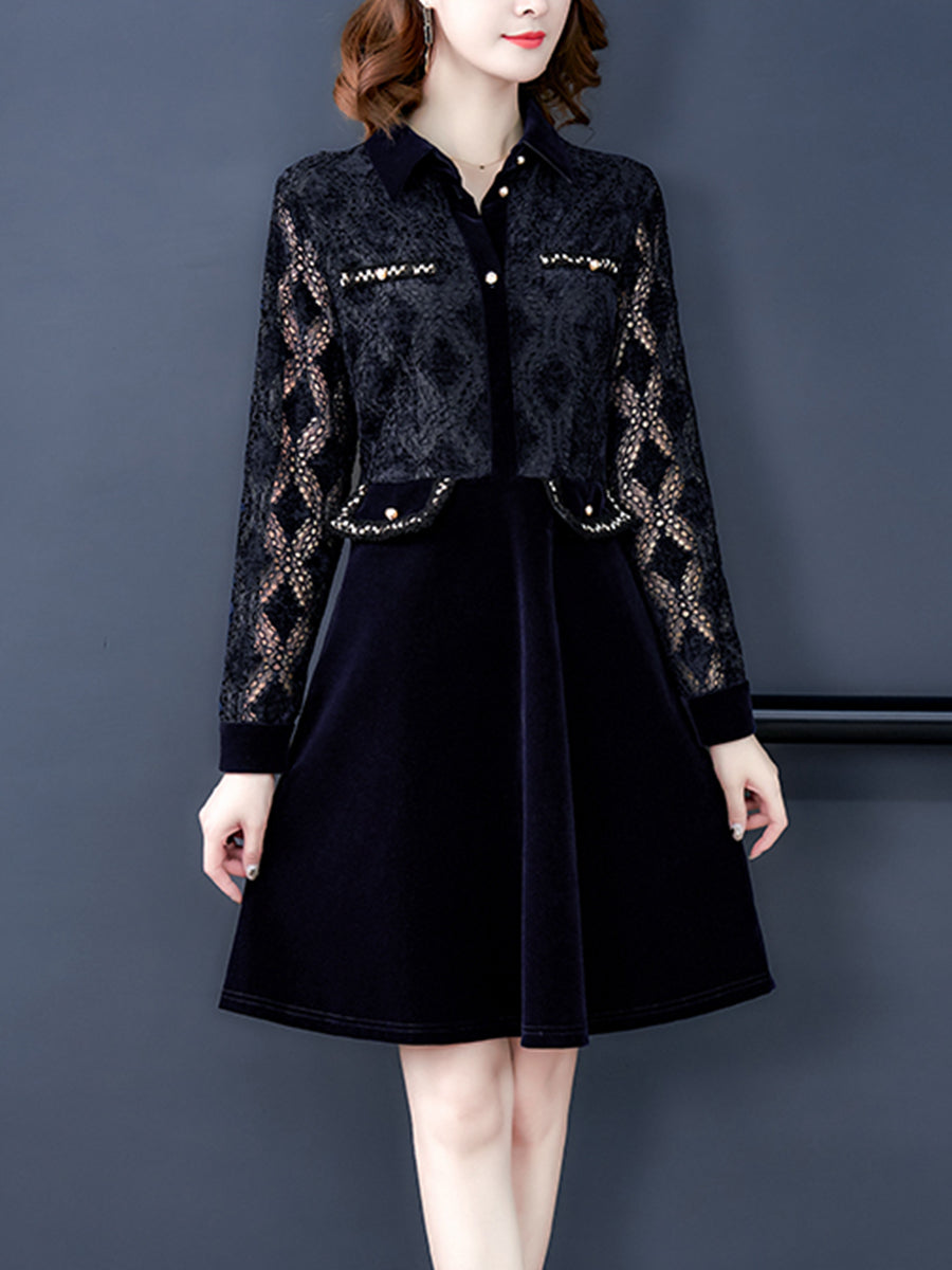 Banquet polo collar temperament lace a-line dress