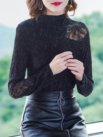 Gold velvet half turtleneck bottoming mesh velvet long sleeve t-shirt
