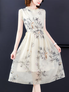 High-end temperament commute silk-print a-line dress