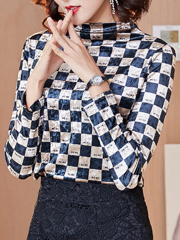 Bottoming shirt plaid retro high-end turtleneck slim top