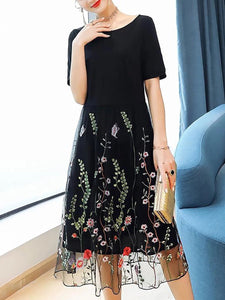 Black holiday a-line date embroidered midi dress
