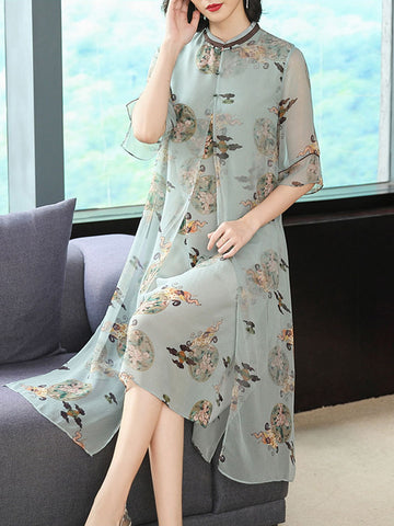 Noble cheongsam new improved fake two-piece dress