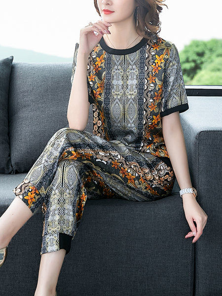 Heavy silk suit large size fashion two-piece sets