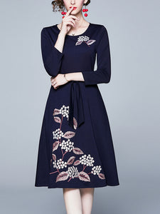 Fashion heavy industry embroidered temperament dress