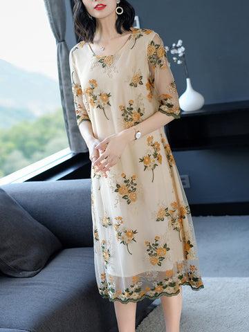Silk mulberry embroidery flower plus size dress