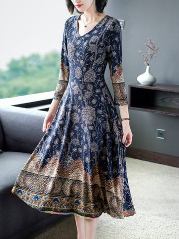 High-end v-neck fashion suit long sleeve dress