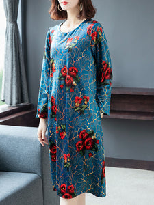 Plus size temperament high-end printed dress