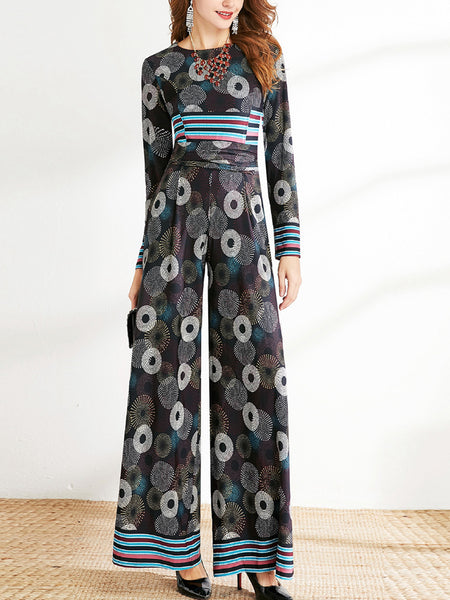 High waist printed pants flower wide-leg jumpsuit