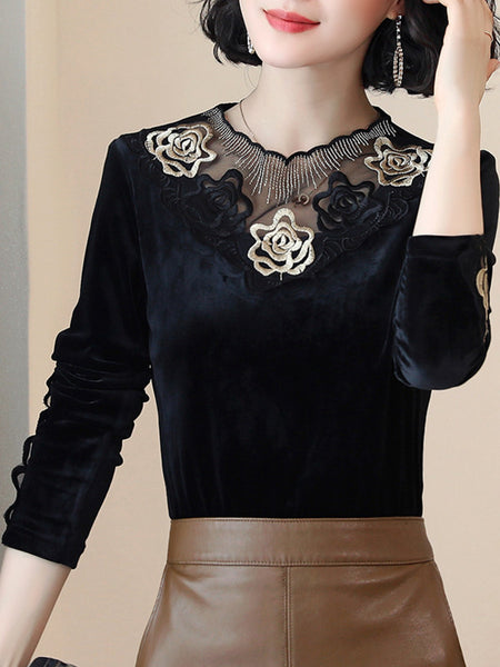 Design sense velvet top temperament long sleeve bottoming shirt