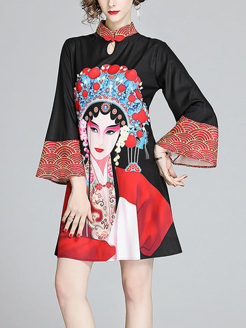 Ethnic retro large sleeve modified version of the dress