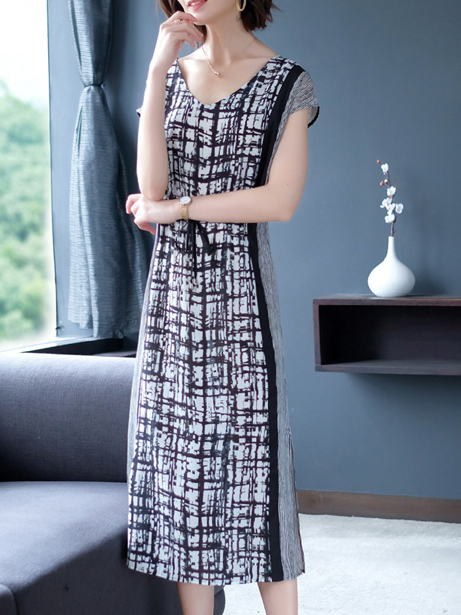 V-neck super heavy silk double crepe dress
