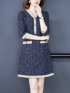 Celebrity temperament tweed vintage slim a-line dress