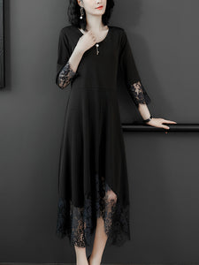 Lace stitching temperament solid color plus size dress