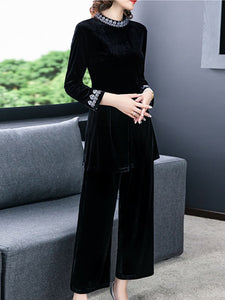 Oversized gold velvet wide-leg pants two-piece suit