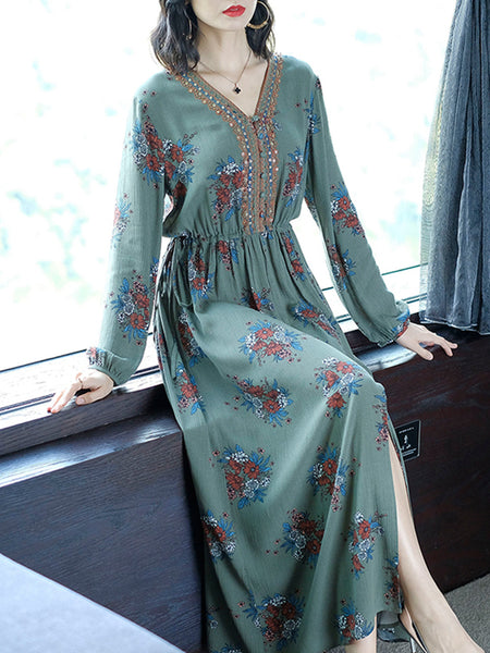 Bright silk v-neck long sleeve printed base maxi dress