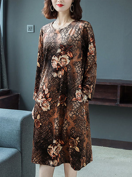 Round neck plus size vintage gold velvet noble dress