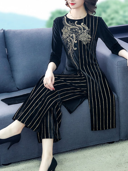 Set of casual retro hipster wide-leg pants