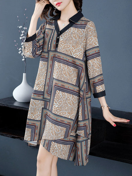 Loose plus size chiffon dress printed shirt skirt