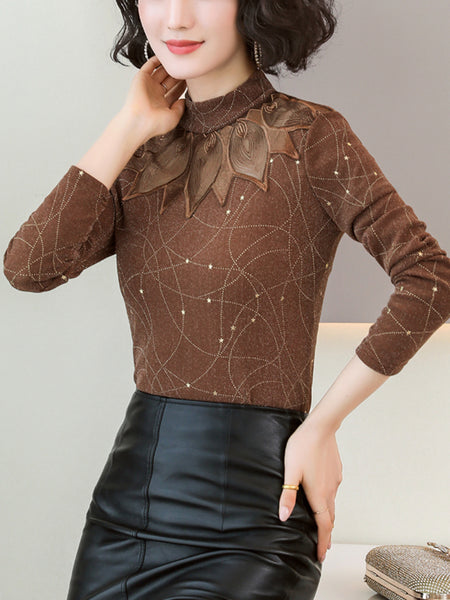 Turtleneck plus velvet lace mesh long sleeve thick bottoming shirt