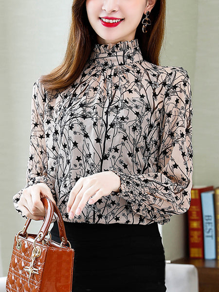 Floral long sleeve bottoming shirt temperament chiffon top