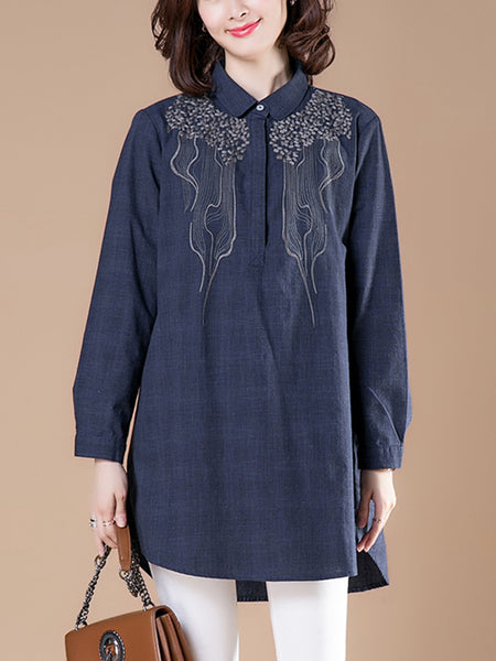 Bottoming padded polo collar top loose cotton linen shirt