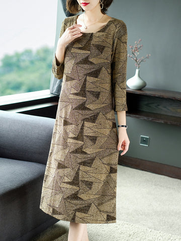 Suitable for new size round neck long sleeve dress