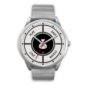 Save-Invest-Give-Play - Silver Watch (10 band options)